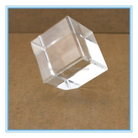 Unique Cubic Trimming Cut Crystal Cube with One Angle Flat,Crystal Block with One Point Faces Upwards For LED Lighting Souvenir