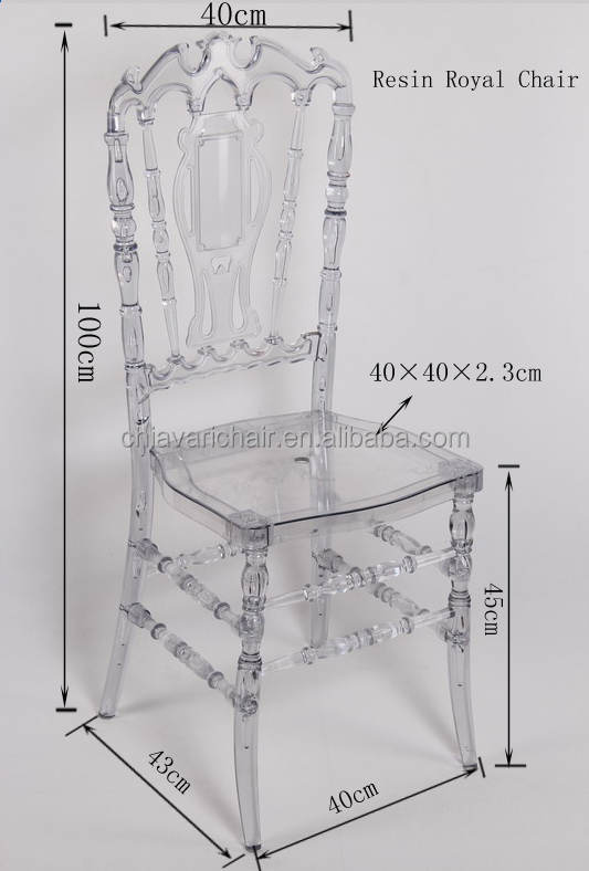 Cheap Best Quality Banquet Wedding Clear Resin Royal Chair