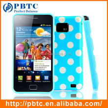 Set Screen Protector And Case For Samsung Galaxy S2 I9100 , Polka Dots Cheap Gel Mobile Back Case