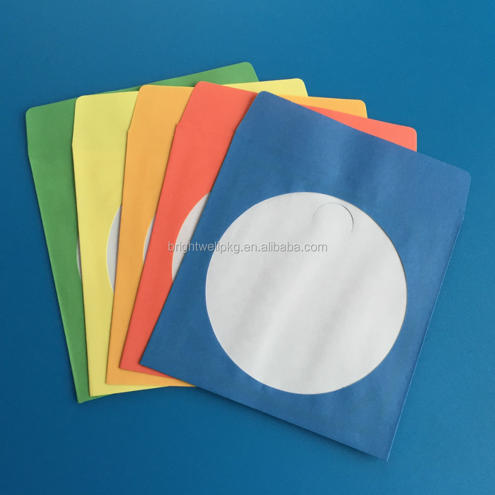 80 100 120gsm 5color assorted paper cd sleeve with window for 100 paper cd sleeves with window flap