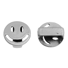 Zinc Based Alloy Slide Beads Round Silver Tone Emoji Smiley About 13mm Dia