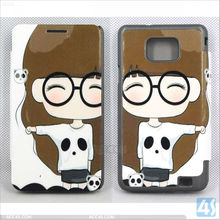 Korean Style Cute Cartoon leather Case for Samsung Galaxy S2 i9100 SII GT-i9100 P-SAMI9100CASE016