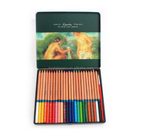 High quality 12 pcs wooden color pencil set with wooden pencil case, kids color pencil set