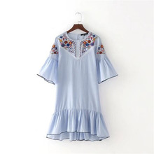 Women Sweet Ruffles Floral Embroidery Striped Dress O Neck Half Sleeve Ladies Summer Casual Mini Dresses Vestidos