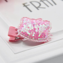New design fashion kids glitter hairclips cute handmade hello kitty style hairpins hair accessories for little girls