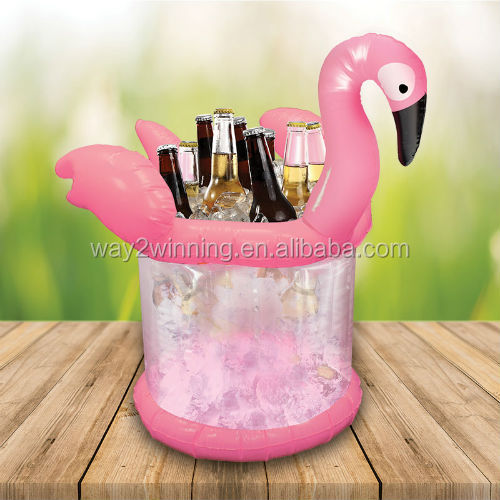 Pink Flamingo inflatable Ice Bucket Bottle Beer Can Holder Party Home Decor