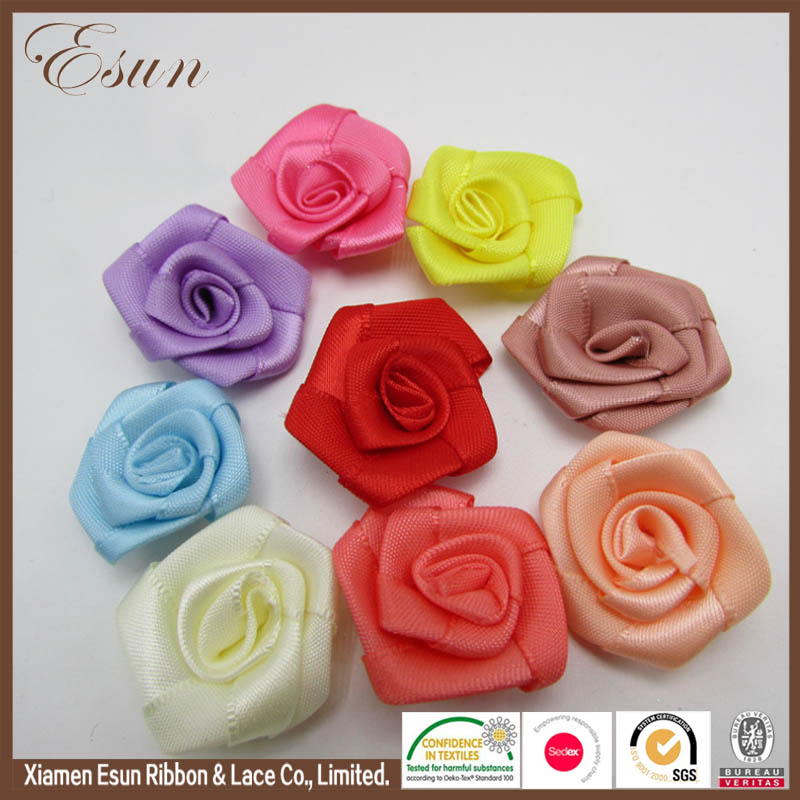 Beautiful rose flowers ribbon rosettes for different gifts packing