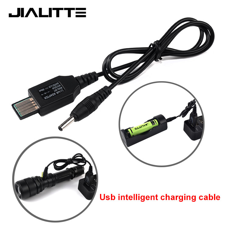 Jialitte <strong>C010</strong> 4.2V 3.5mm Pin USB Smart Charging Cable with Indicator Light for 60cm Flashlight