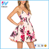 Latest dress design summer printing floral lady sexy bare back fashion dress flower print dress
