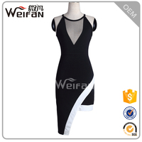 2016 Instyle Fashion Ladies Transparent Black Tight Sexy Night Dress For Girls