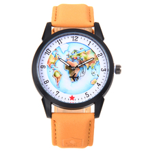 5140 High Quality Plane Pointer Unisex Fashion Leather World Map Watch