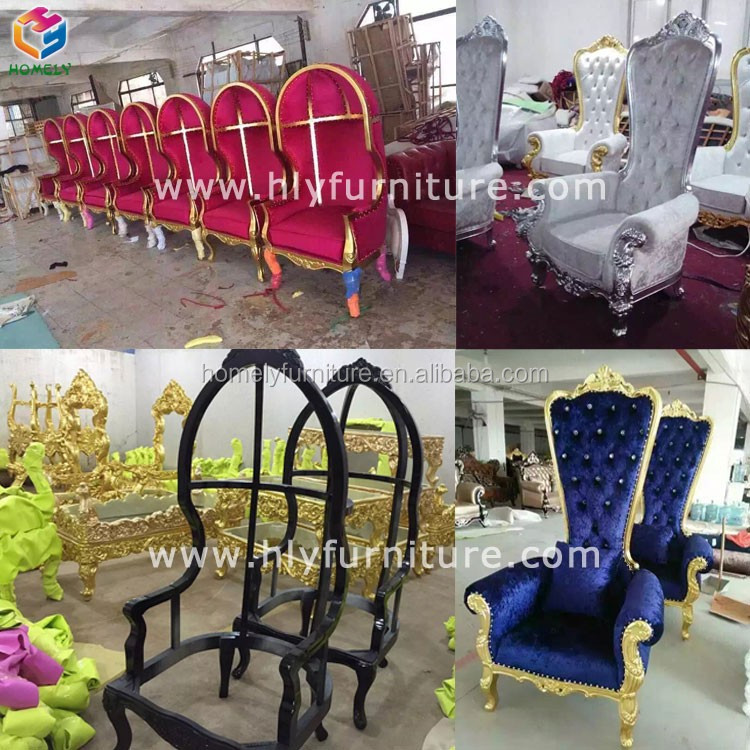 luxury royal wedding wooden bride and groom chair