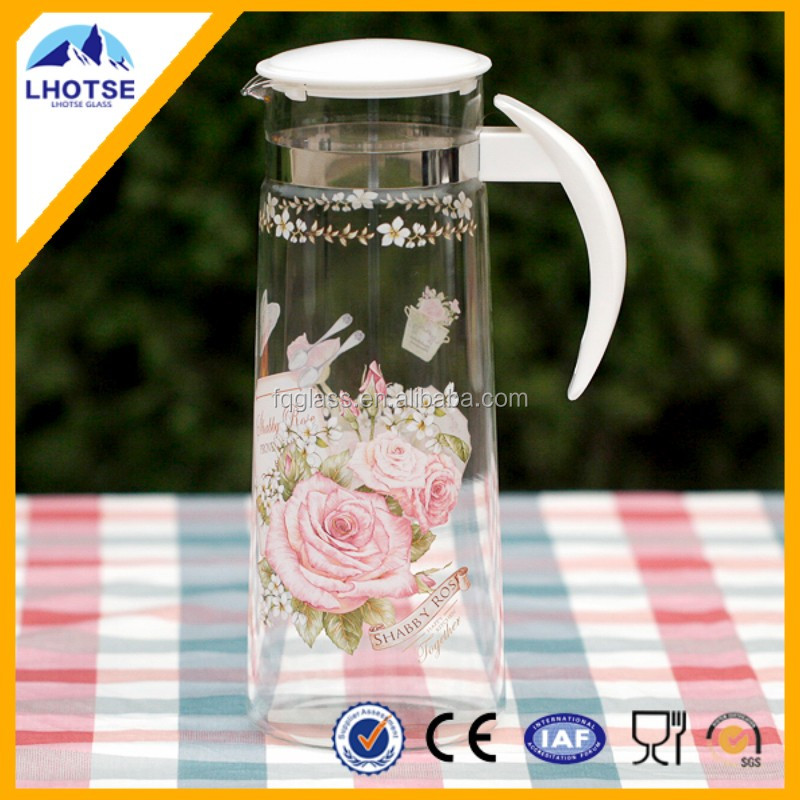 Glass Jug With Decals Glass Water Jug Set With Lid and Plastic Handle from Anhui Faqiang Glass Factory