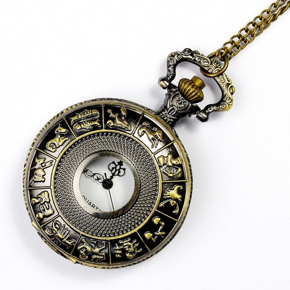 Fashion Vintage SteamPunk twelve Zodiac Pocket Watch With Chain Pendant Necklace Mechanical Hand Carved Jewelry