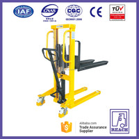 Good manufacturer 1 ton manual hydraulic forklift hand pallet stacker