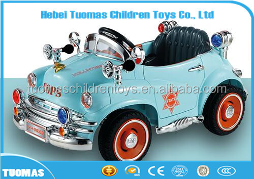 Old fashion Cops car mpdel 12V Kids Electric Battery Toy Ride-On Truck Off-load Vehicle Remote Control Kids Electric Motor Car
