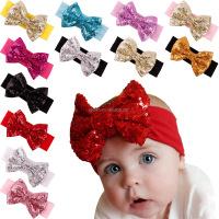 2017 New Item for Baby 100% Cotton Baby Girls Fabric Solid Color Hair Accessories with Sequin Big Headband Elastic Band