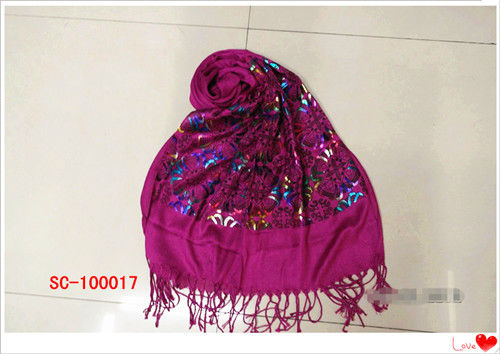 Cotton Scarf With Pompoms For Ladies