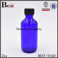 2oz hair serum bottle cosmetic blue colored glass hair serum bottle with black plastic cap