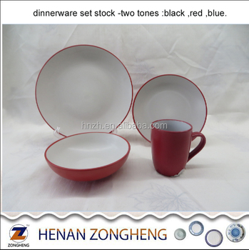 Two tones white-red Dinnerware Round 16PCS Dinner Set in Stock