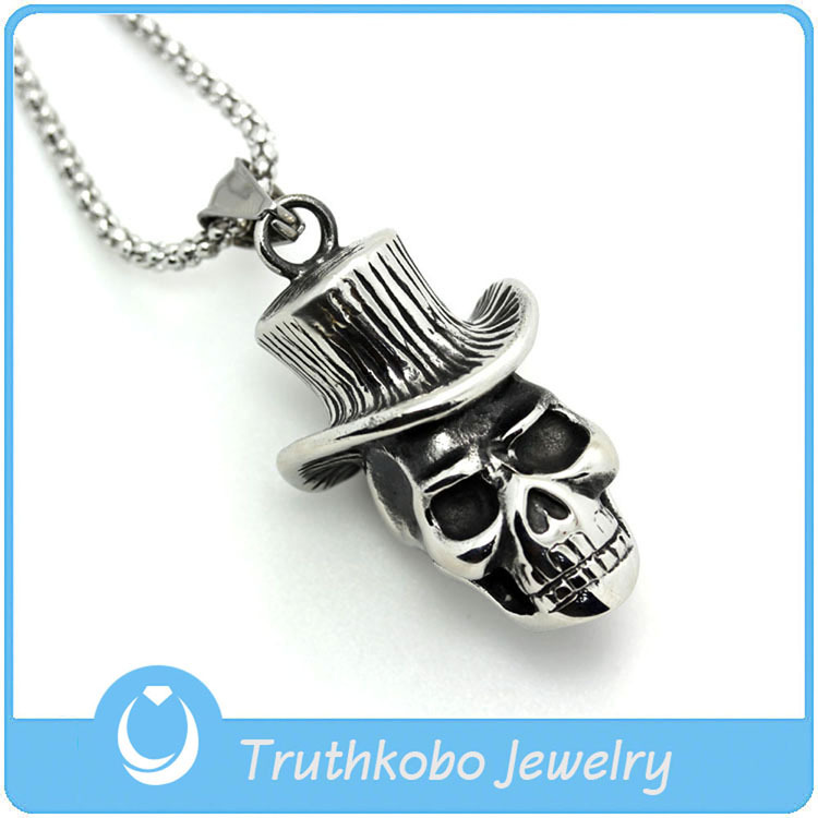 TKB-JP0014 Hip-hop punk style skull wearing a cap charms jewelry for men stainless steel pendant