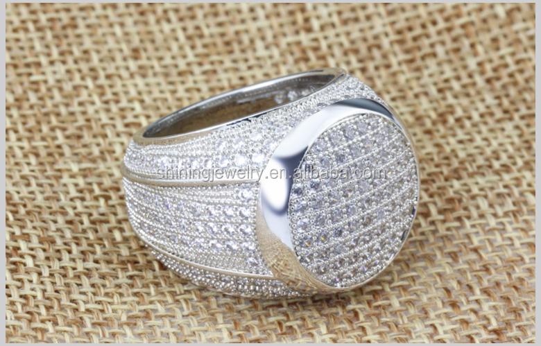 wholesale mens micro pave hip hop cz sterling silver ring