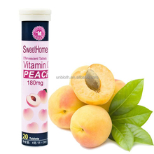 Natural health product 180mg Peach flavor Vitamin C effervescent tablets Immune supplement drink
