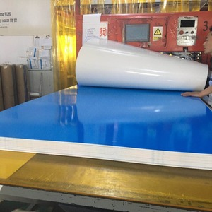 High quality rigid colorful opaque PVC plastic white sheet with blue PE film