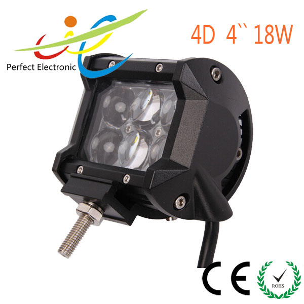 4D Led Offroad Light 4x4 18w Led Work Light for Jeep Offroad 4WD Vehicles