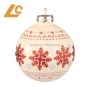 High Quality Glass Christmas Bauble Tree Decoration Balls Ornament with snowflakes or flower