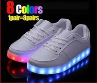 Black white Newest 2016 Simulation LED shoes for adults Women's Fashion Casual shoes Men/Women High