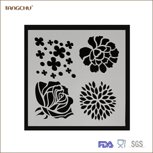 Best Sell In Amazon Cake Decorating Tools Plastic Coffe Stencil Mold Four Flower Shape Chinese Supplier