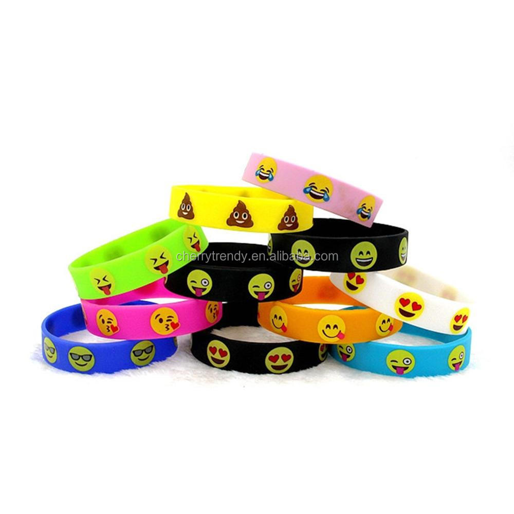 Emoji Silicone Wristbands Emoticon Band Bracelets - Asst
