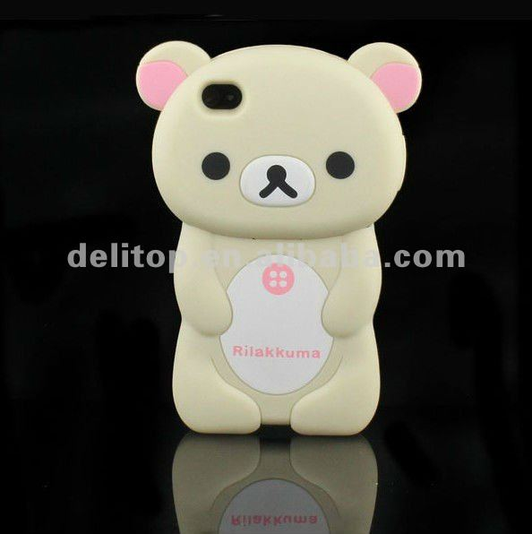 Cute 3D Rilakkuma Bear Hard Back Case Cover Skin For Apple iPhone 4 4S Rice