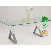 DT-3049 modern design glass top long dining room tables