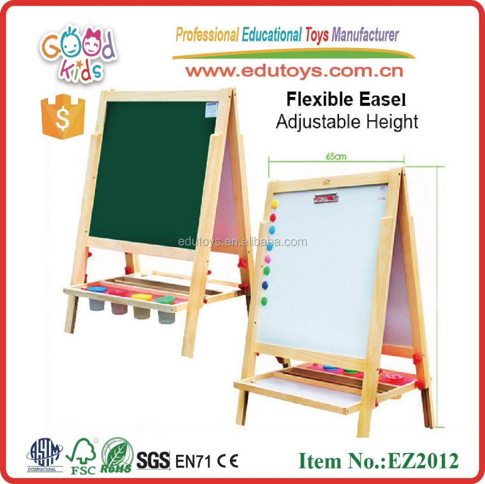Preschool educational magnetic white board dry erase blackboard big magnetic wooden easel for child