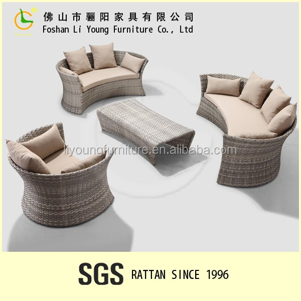 Outdoor garden sofas sectional circular full patio furniture with drink table 2 Years Warranty sectional rattan half moon sofa