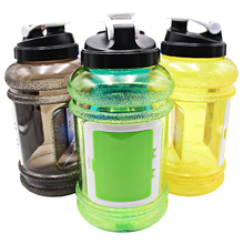 Water bottles with custom logo 2.2L plastic promote big joyshakering water bottle jug with handle and storage box container