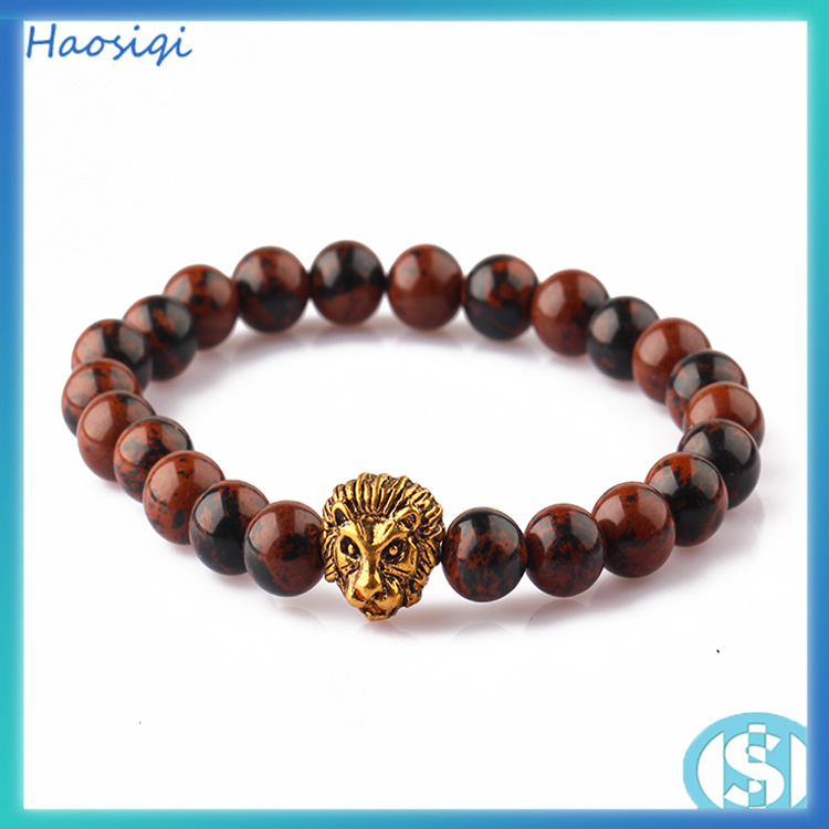 Wholesale Allibaba com Men Bracelet Natural Agate Bead Jewelry Gold Lion Head Fashion Nautical rope Bead Braceelet