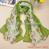 Custom design sublimation printing wholesale silk chiffon scarf for women