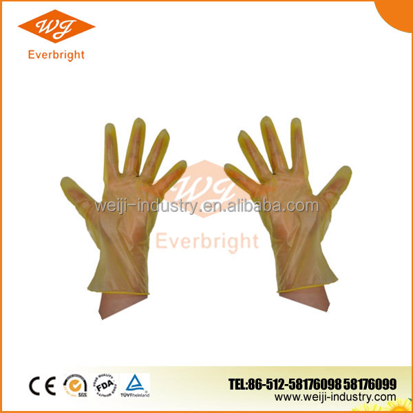 Disposable yellow medical long nitrile latex vinyl gloves