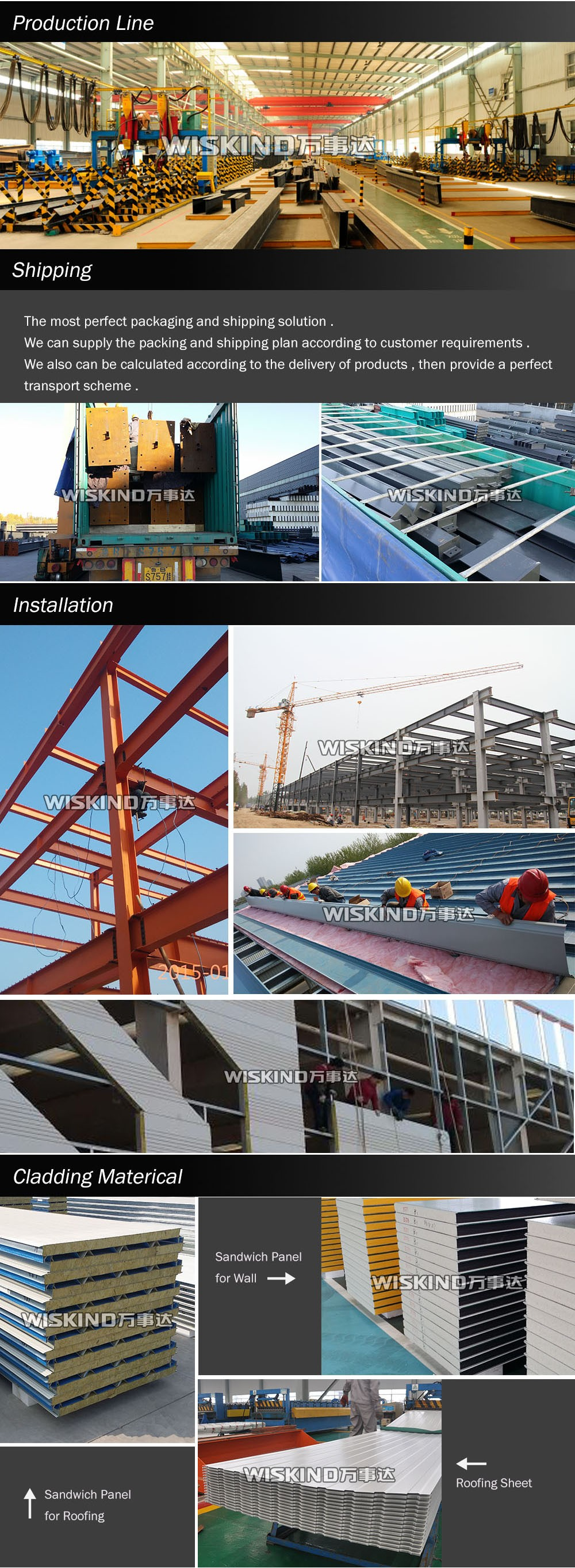 Shandong WISKIND professional construction design steel structure warehouse