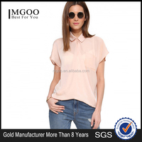 MGOO 2015 Latest Fashion High End Soft Silk Shirt For Women loose Fashionable Tops Crepe Blouses 15121A629