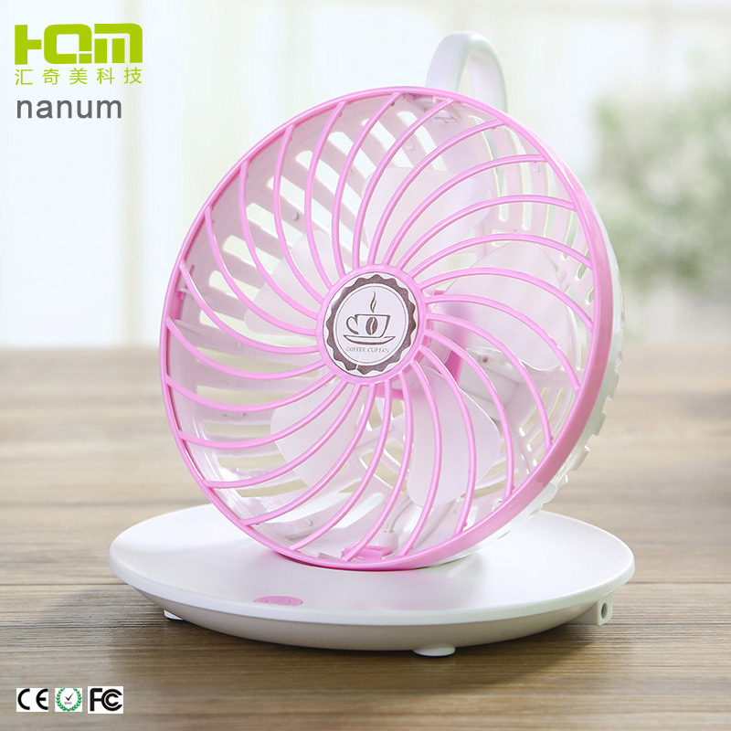 Wholesale Pink Coffee Cup Shaped Tiny Oscillating Fan For Student