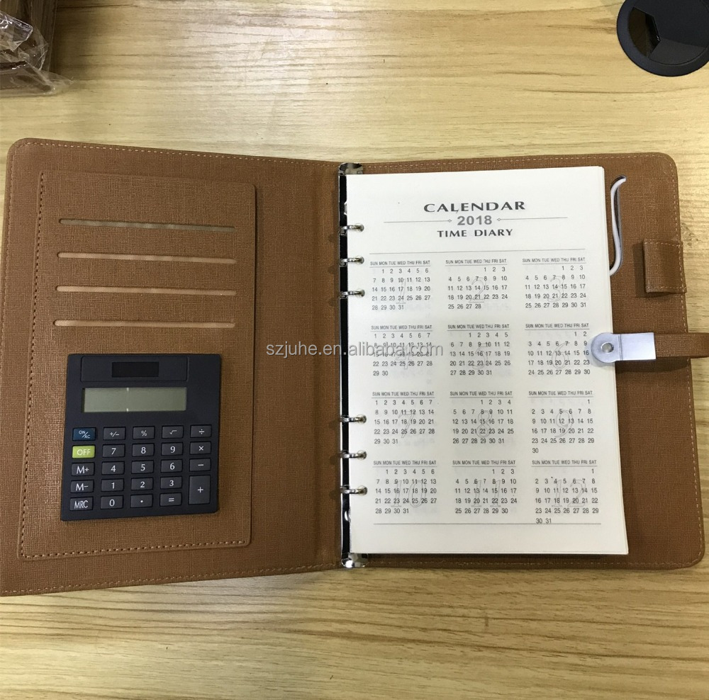 NEW!! battery diary 2018 pu leather power bank notebook with calculator