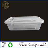 F802 clear rectangular plastic container microwave food container with lid