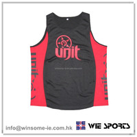 Promotional low price fashionable OEM mens 100% polyester moisture wicking sports tank