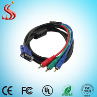High quality VGA to 3 RCA Composite Converter Adapter Cable