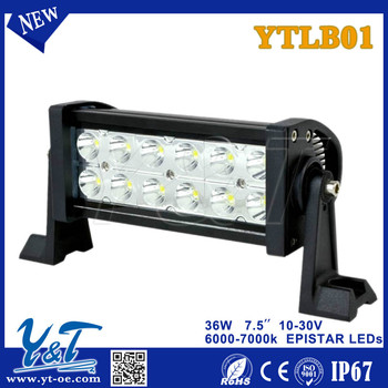 "Y&T Hotsale 7.5""/36w dual row 4x4 4wd offroad car auto trucks led work light double sided led strip light"