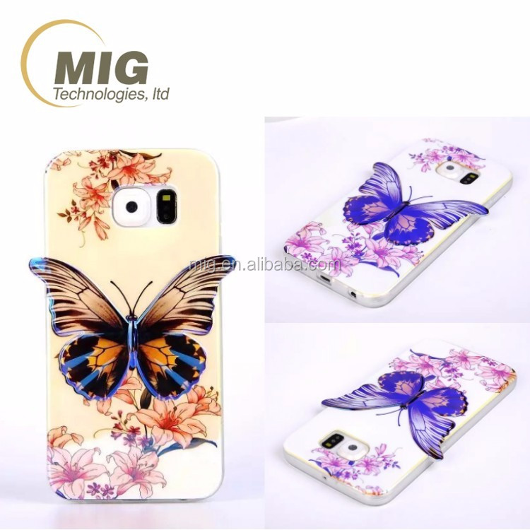 hot Colorful 3D Blu ray Butterfly tpu phone case For samsung galaxy note 5 4 3 2 s3 s4 s5 s6 edge